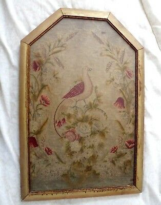 Antique 19th Century Large Needlepoint petit point Bird in Vintage Wood frame