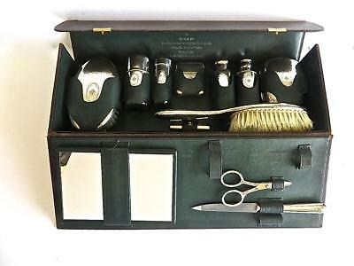 1919 Tiffany Makers 12 Piece Sterling Silver Mens Travel Set in Leather Case