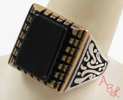 Sterling Silver Vintage 925 Etched Cocktail Black Onyx Ring Sz 11 (12.5g) 734917