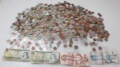 Assorted Lot of Canadian Coins 7lb.+ Paper Bills Canada Exchange Money Currency