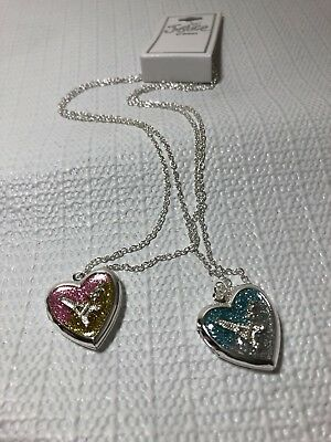 Justice Girls Costume Jewelry Necklaces BFF Eiffel Tower Heart Locket Glitter