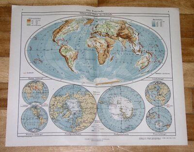 1943 Original Vintage Wwii Physical Map Of The World North Pole Antarctica