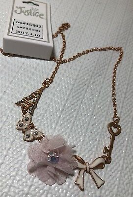 Justice Girl Costume Jewelry Necklace Rose Gold Tone Key Eifell Tower Rhinestone