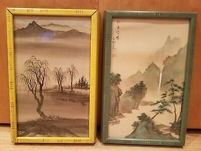 Antique Pair of Asian Nature Scene Wood Framed Drawings Prints Art Vintage