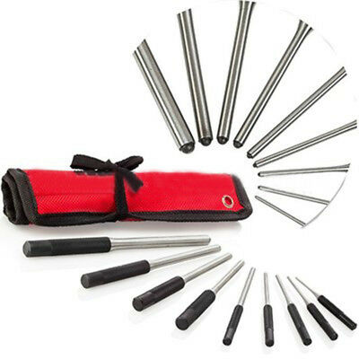 9pcs Professional Roll Pin Punch Set Tool Kit For Removing Pin w/ Roll Case