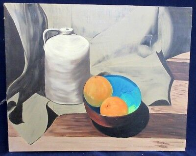 Barbara Root Signed Vintage Oil Painting Still Life W/ Oranges In a Bowl W/ Jug