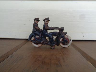 Cast Iron Harley Davidson Motorcycle With 2 Riders