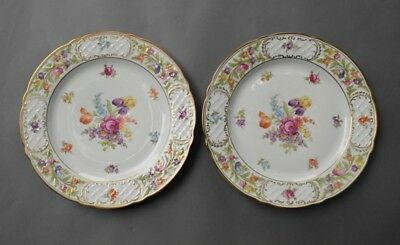 "2 Vintage SCHUMANN Germany Empress Dresden Flowers 10 1/4"" Dinner Plates PERFECT"