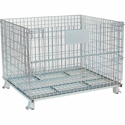 Tekrite Foldable Wire Mesh Basket- 2200-Lb. Capacity 48in.L x 40in.W x 36in.H