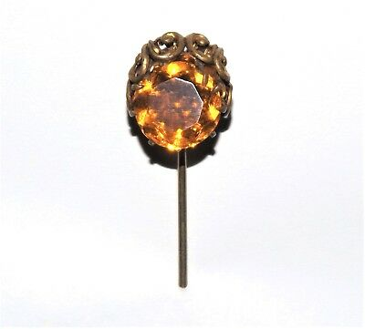 ANTIQUE VICTORIAN EDWARDIAN HAT PIN Amber Colored Stone Glass VTG GOLD HATPIN
