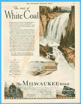 1928 Chicago Milwaukee St Paul and Pacific Electric Railroad Train White Coal Ad