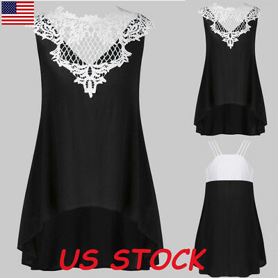 Women Sleeveless Floral Lace Vest Tops Ladies Casual Tank Tops Blouse T Shirt US