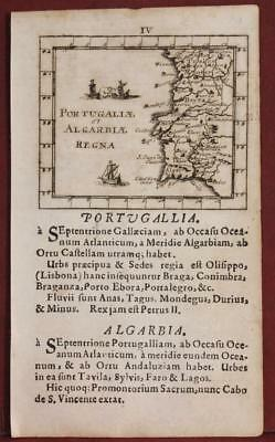 Portugal 1692 Johann Ulrich Müller Unusual Antique Copper Engraved Miniature Map