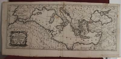 Mediterranean Sea 1752 Rössler Scarce Antique Original Copper Engraved Map