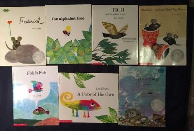 7 Leo Lionni books-Color of His Own,Tico,Frederick, Fish is Fish,Alphabet Tree +