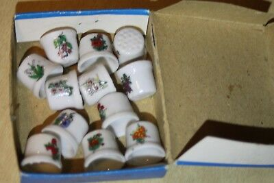 1977 Chadwick Miller 12pc Thimbles Flowers Of The Month Porcelain