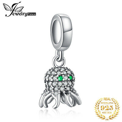 JewelryPalace Sea Love Octopus Cubic Zirconia 925 Silver Charm Beads