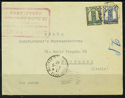 Morocco-France 1947 Casablanca Airmail Cover To Florenc