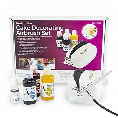 Spraycraft Airbrush And Compressor Kit With Magic Colours And Cleaning - Cake