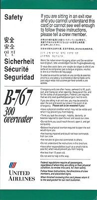 Safety Card - United - B767 300 Overwater - c1992 (S3956)