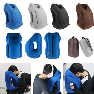 Inflatable Air Travel Pillow Airplane Neck Head Sleep Chin Camping Flight