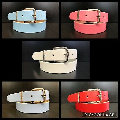 5 Colours Childrens Girls Belts Real Leather - 2,5cm Wide Size Small