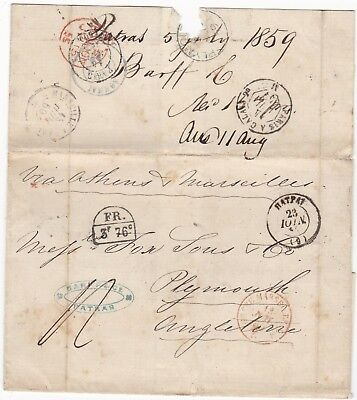 1859 PATRAS GREECE TO FOX PLYMOUTH FR 3F 76c ANGLO FRENCH ACCOUNTANCY POSTMARK