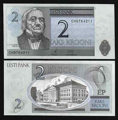 Estonia 2 Krooni P85 2007 Tartu University Euro Unc Currency Money Bill Banknote