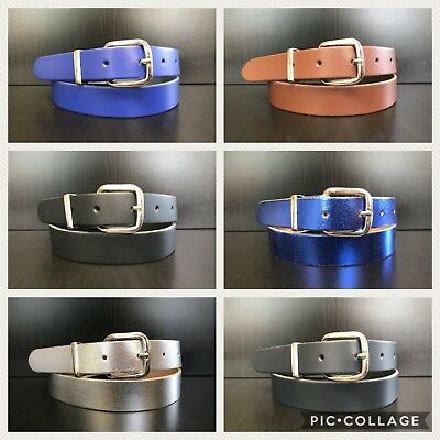 6 Colours Childrens Girls and Boys Belts Real Leather - 2,5cm Wide Size M