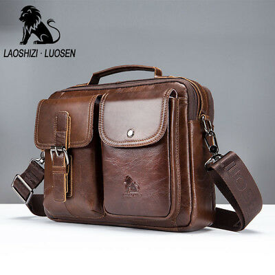 Men's Vintage Genuine Leather Business Shoulder Bag Handbag Travel  Briefcase