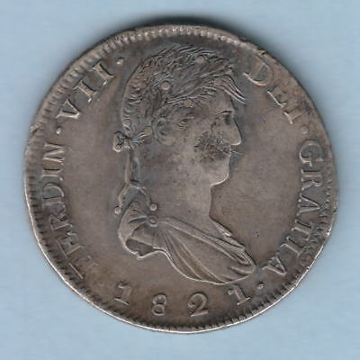 Mexico-Zacatecas. 1821-RG 8 Reales. Much Lustre rev. Possible chopmark obv. gVF