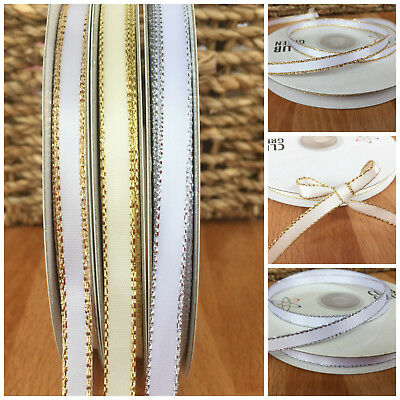 Lurex edge satin ribbon 6mm wide sold per 3 metres, white or ivory /silver/ gold