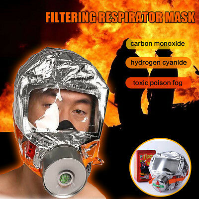 Protective Escape Hood Oxygen Mask Rescue Respirator Fire Smoke Toxic Filter