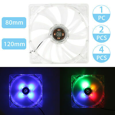 1/2/4 Quad 4 LED Lights Clear 80mm/120mm PC Computer Case Cooling Fan Mod