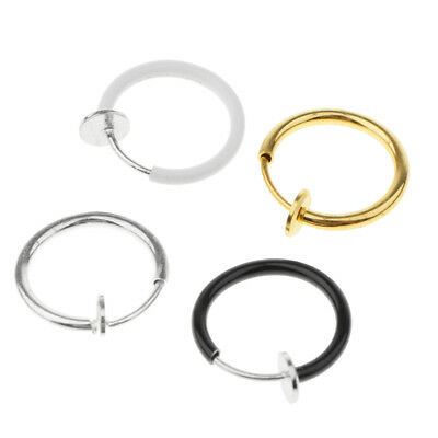 4pcs Women Clip-On Non Piercing Spring Action Fake Nose Septum Lip Ring