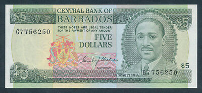 """Barbados: 1975 $5 CRICKETER """"SIR FRANK WORRELL"""". Pick 32a UNC Cat $80"""
