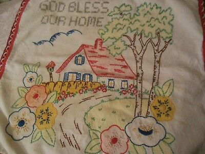 Vintage Embroidered Vogue Pillow Cover God Bless Our Home