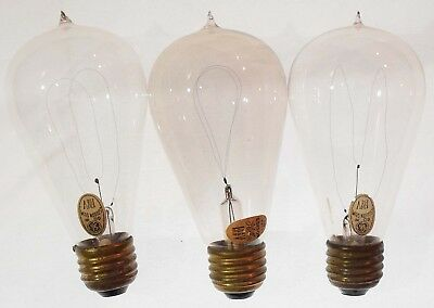 """Three Signed """"Edison"""" General Electric Metallized (GEM) Carbon-Filament Bulbs"""