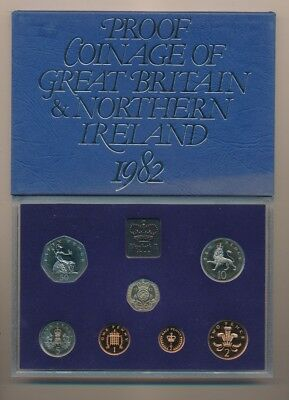 Great Britain: 1982 7-Coin Proof Set, New 20p Introduced