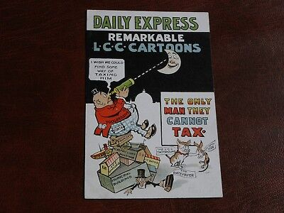 Original Political Propaganda Postcard - Daily Express, Lcc Cartoons - Tax.