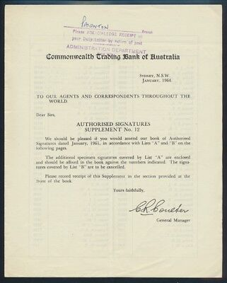 "Australia: 1964 Commonwealth Trading Bank RARE ""AUTHORISED SIGNATURE"" CIRCULAR"