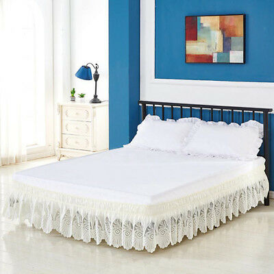Wrap Around Lace Ruffle Elastic Band Bed Skirt Beige_200x200cm King Size