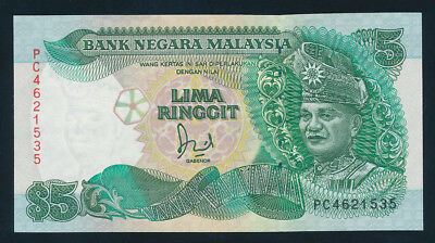 "Malaysia: 1991 5 Ringgit ""FLAGPOLE WITHOUT CROSSBAR"". Pick 28c UNC Lt handling"