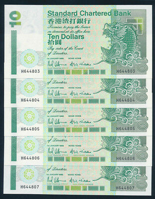 "Hong Kong: STANDARD CHARTERED BK 1-1-1993 $10 ""CONSEC RUN 5"". P284a UNC Cat $40+"