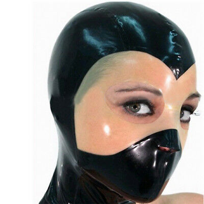 Unique Latex Hood Handmade Mysterious Rubber Mask for Catsuit Club Wear Costume