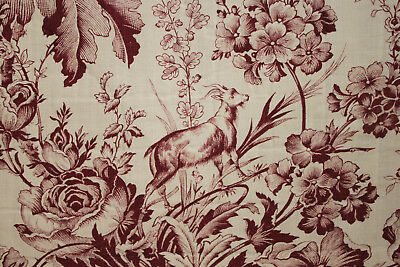Antique French fabric 19th century toile ram and floral pattern circa 1850 goat