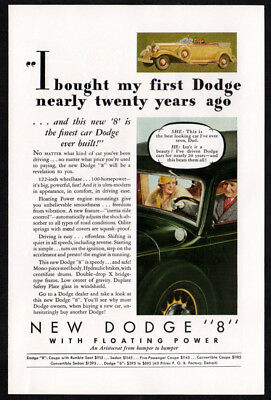 1933 New DODGE 8 Vintage Original Print AD - Floating Power convertible art USA