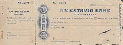 "Netherlands Indies: China Batavia Bank 1930s ""RARE CHEQUE IN DUTCH & CHINESE"""