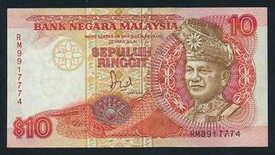 "Malaysia: 1989 10 Ringgit Sig. Hussein LUCKY NO.""777"". Pick 29 EF - Cat UNC $24+"