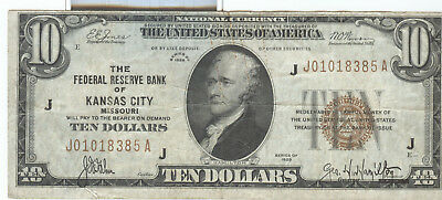 Series 1929 $10 Kansas City National Currency Note